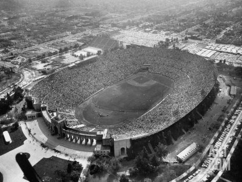An Aerial View Of The Los Angeles Coliseum Photographic Print J R Eyerman Art Com Los Angeles Aerial View Baseball Park