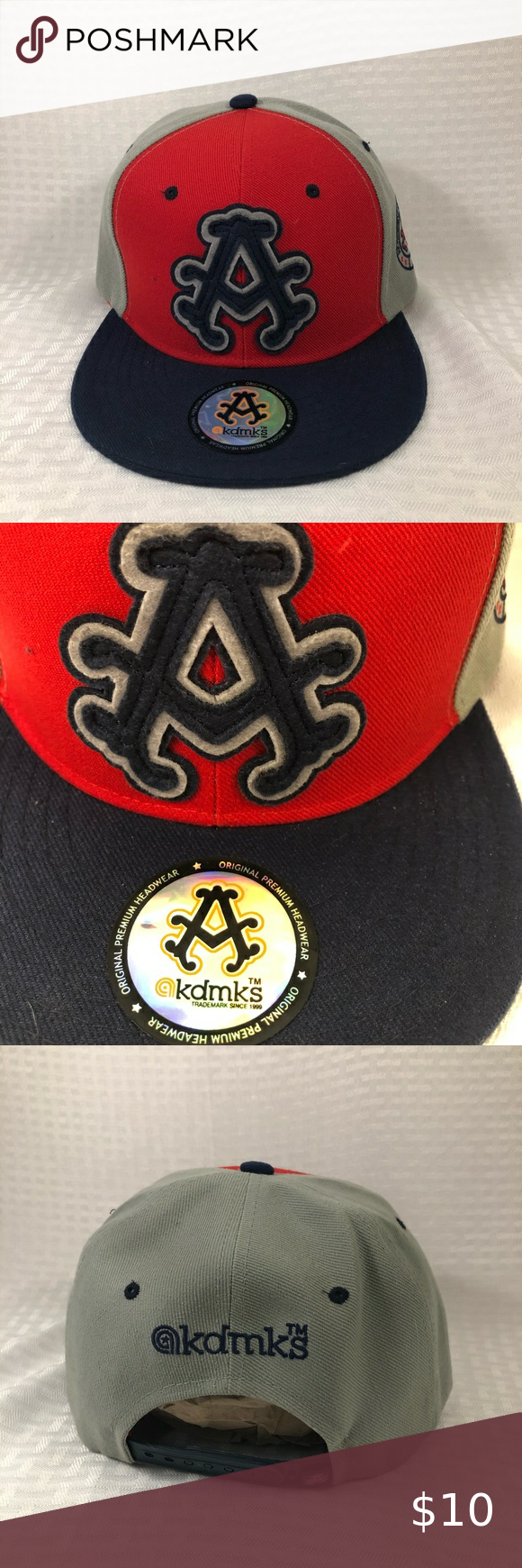 New Akademiks SnapBack Cap Baseball Hat Red, Blue New Akademiks SnapBack Cap Baseball Hat Red, Blue and Gray Accessories Hats