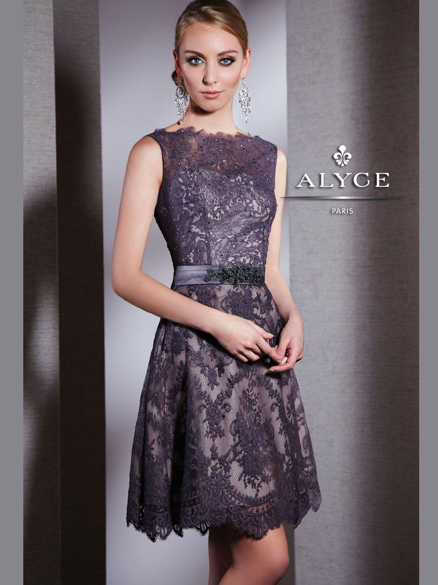 High Neck Lace Short Dress Alyce Black Label 5507 DressProm.net Robe Pourpre , 3eaae4fe5c3