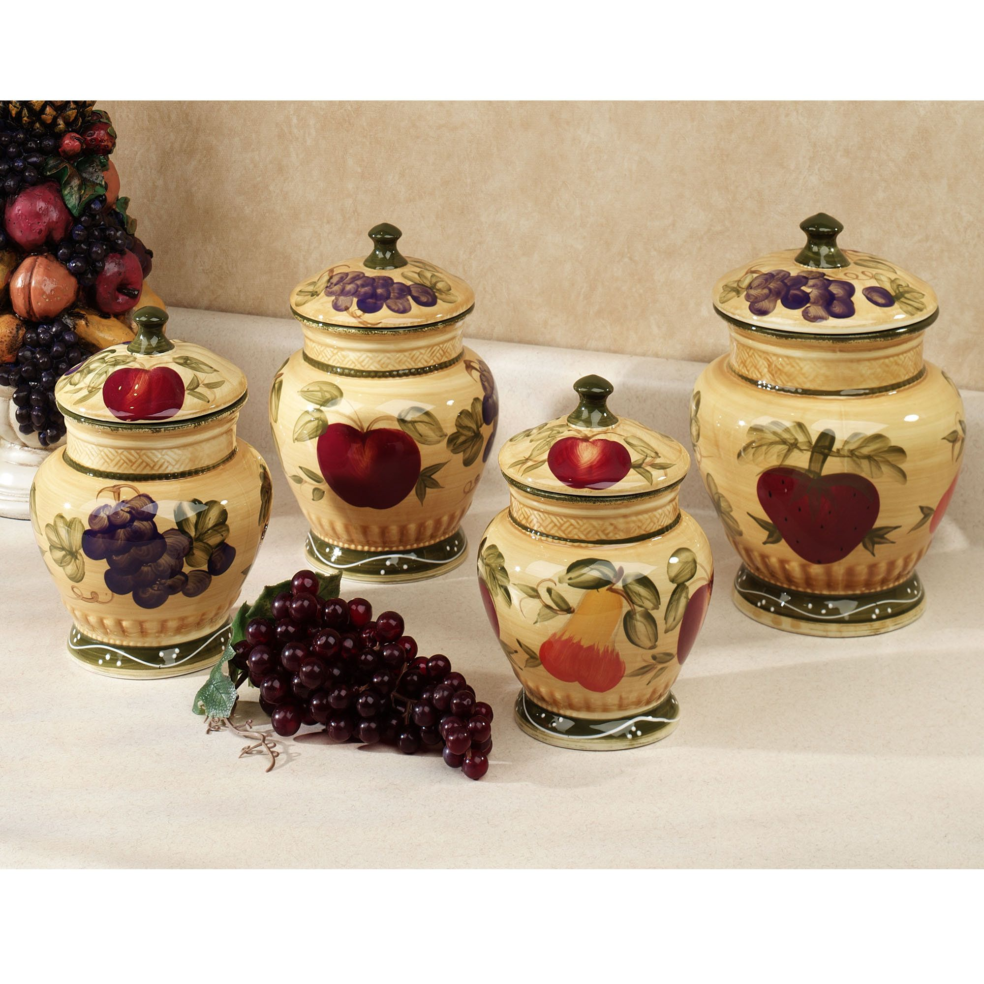 Red Canister Set For Kitchen Cabinet Drawer Boxes European Fruit Canisters