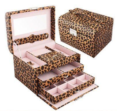 3 layers leopard print Jewelry box Accessories display casket