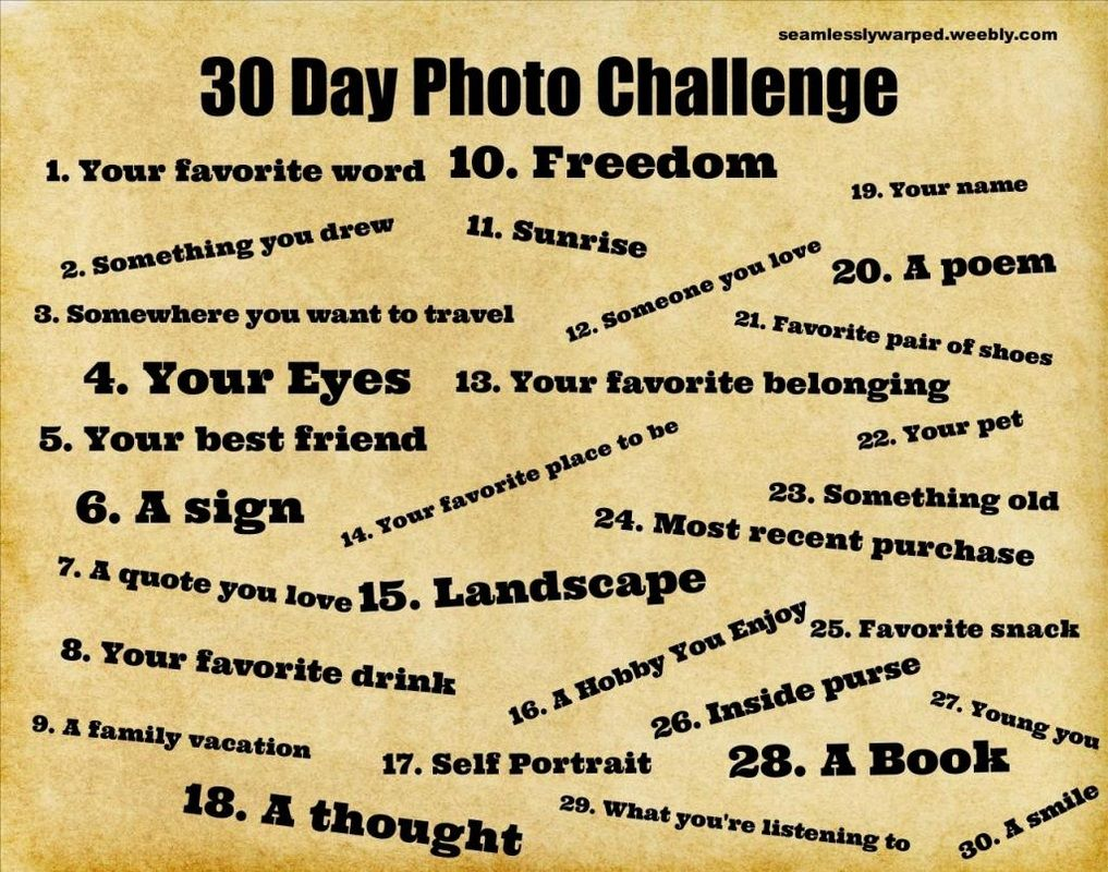 30 Day Photo Challenge -  This should be  fun family assignment!
