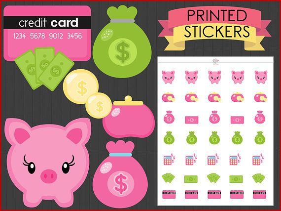 My Money Stickers : [PRINTED STICKERS], planner stickers, erin condren,  happy