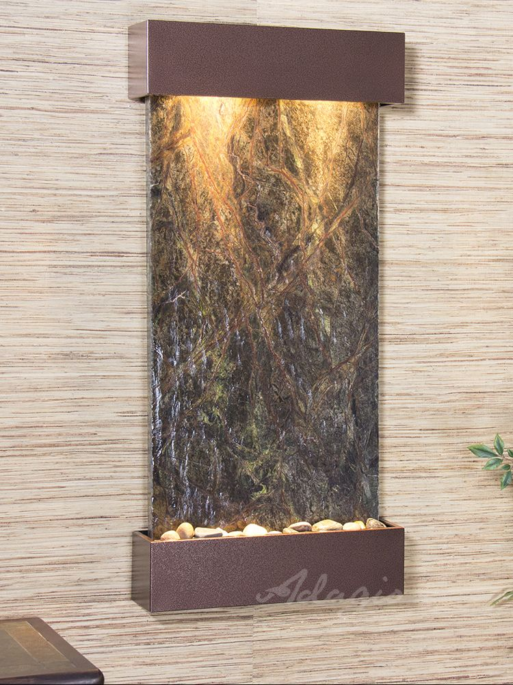 The Whispering Creek Wall Water Fountain Is Both Physically Beautiful And Totally Perfect Positioned Vertically Wall Fountain Water Feature Wall Green Marble