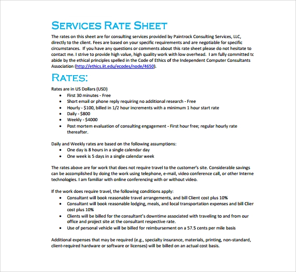 15 Free Rate Sheet Templates Printable Word Excel Pdf Samples Templates Sheet Words