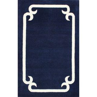 Nuloom Handmade Solid Border Wool Royal Blue Rug 5 X 8