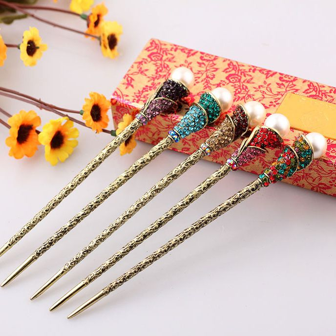 Women Pearl Crystal Hair Sticks Fashion Chopstick Hairpin Accessories Af131 China Mainland