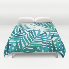 Watercolor Palm Leaves on White Duvet Cover