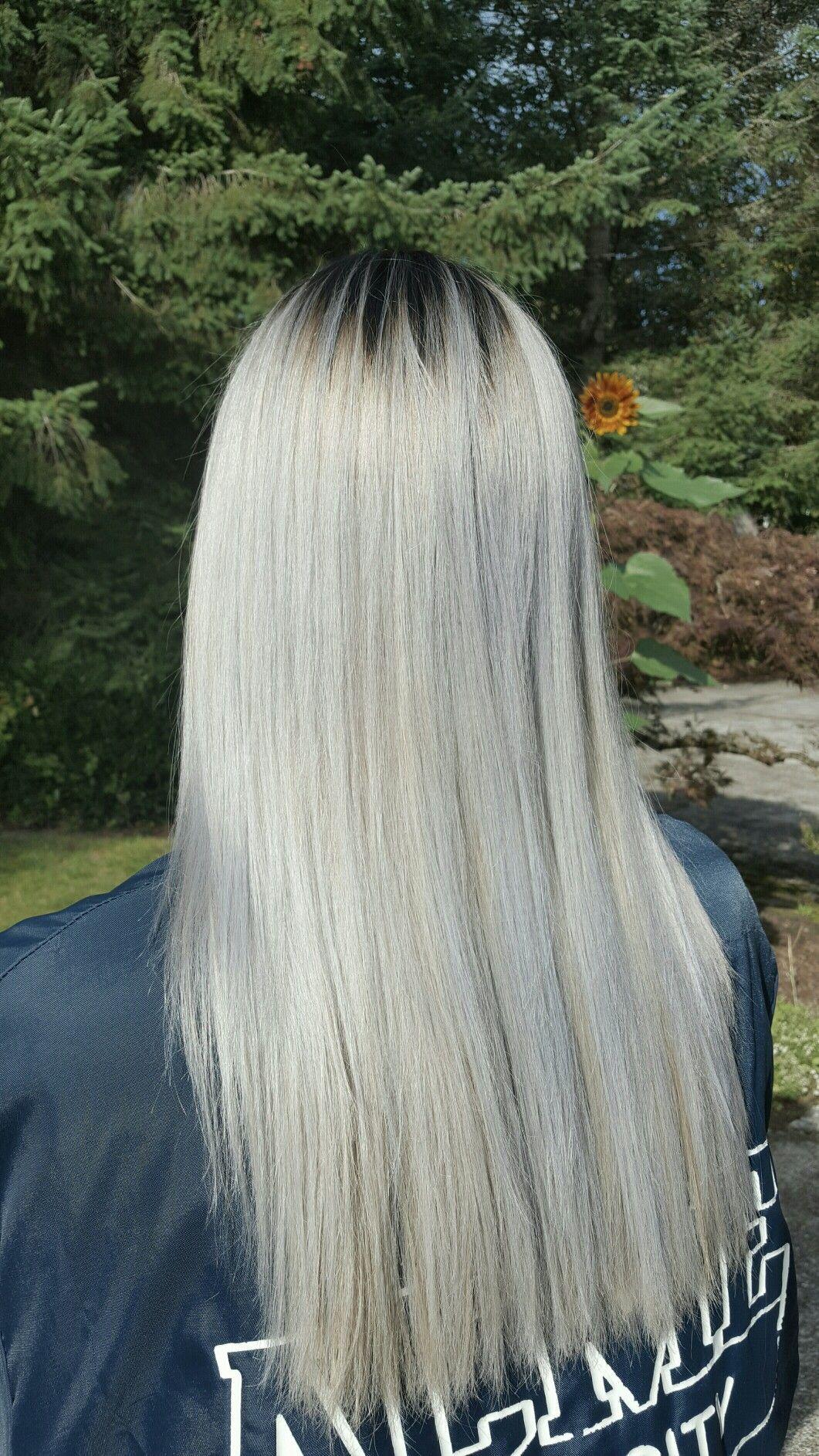 Platinum White Blonde Hair With Blue Undertones Dark Shadow Root