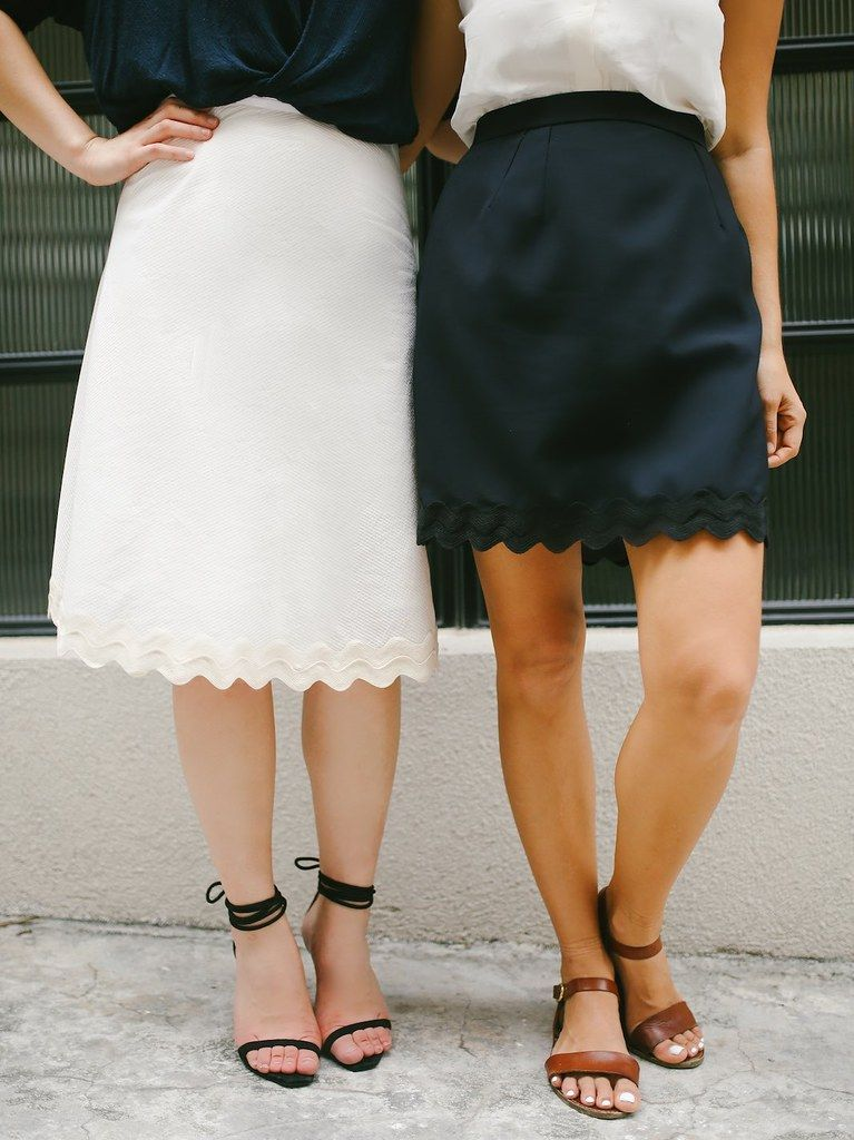 A Pair & A Spare | Quick DIY: Scalloped Hem Skirt two Ways