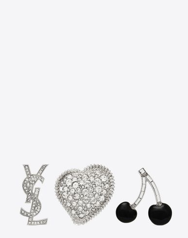 dbeda11f0da SAINT LAURENT SMOKING BROOCH SET IN SILVER, BLACK AND CLEAR | YSL.COM