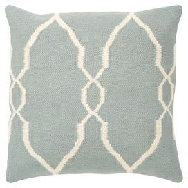 Cotton-wool pillow with a Moroccan-inspired motif.     Product: Pillow    Construction Material: Wool and cotton   Color: Slate blue and papyrus   Features:   Insert included   Zipper closure            Cleaning and Care: Blot stains with warm water