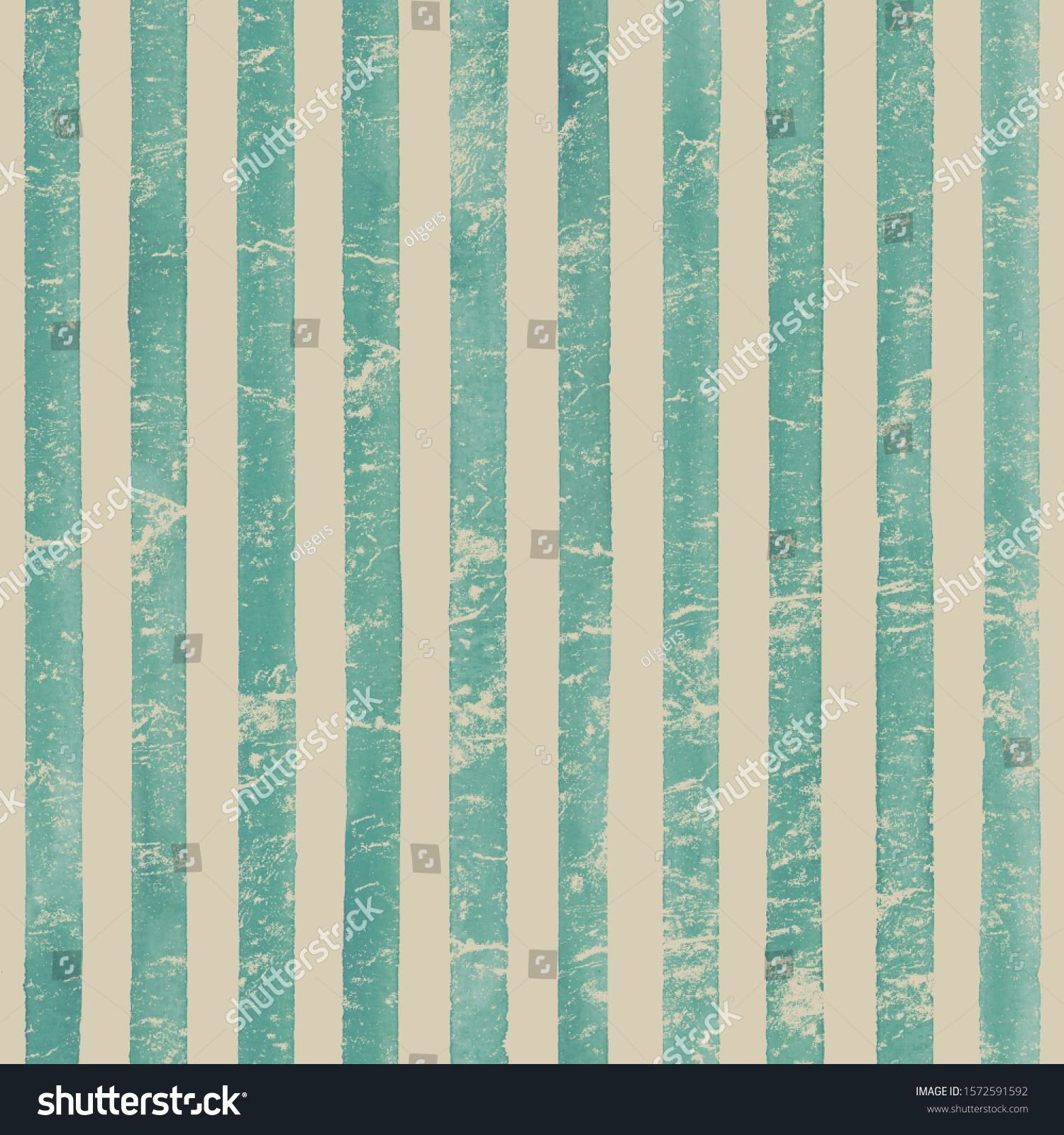 paper Watercolor stripe seamless pattern Teal turquoise stripes background Watercolour hand drawn striped old grunge texture Print for cloth design textile fabric wallpap...