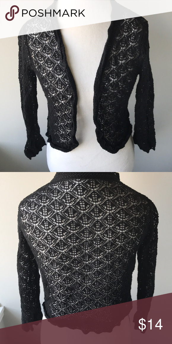 31034aa18541 Dressbarn XL short black crochet cardigan 55% ramie, 45% cotton. Perfect  for layering over a sleeveless dress. Only worn a few times. Dress Barn  Sweaters ...