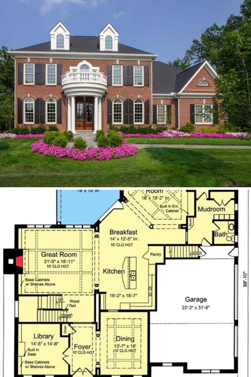 Two Story 4 Bedroom Georgian Home With Rounded Balcony Floor Plan House With Balcony Colonial House Exteriors Georgian Homes