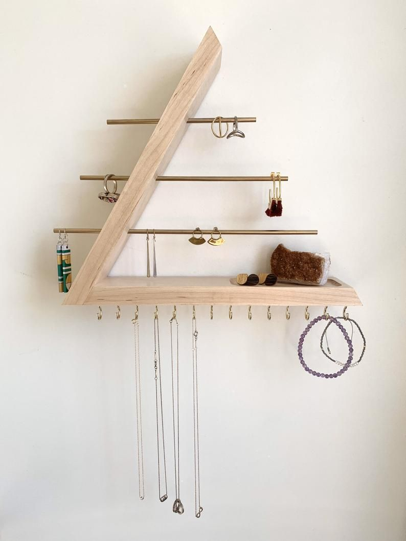 Maple Jewelry Organizer, Hardwood, Wall Mount floating Jewelry Holder for Necklace Earring, Bracelet and Ring, Gift for Her -   16 diy Organizador dormitorio ideas