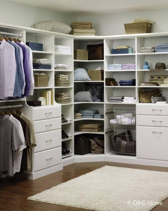 walk in closet with corner shelving great organization bedroom closets pinterest. Black Bedroom Furniture Sets. Home Design Ideas
