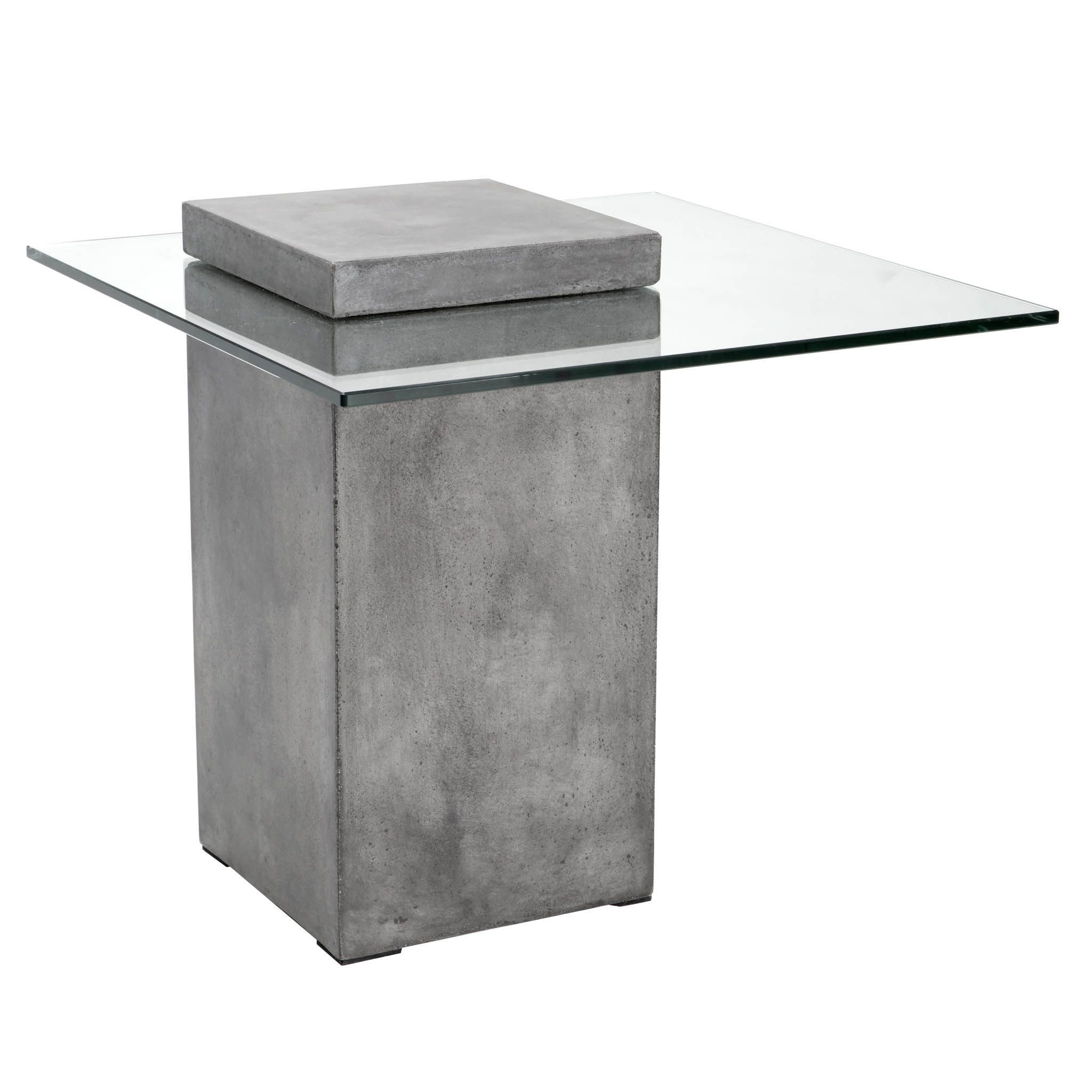 Sunpan Grange Anthracite Grey Concrete Glass End Table Overstock