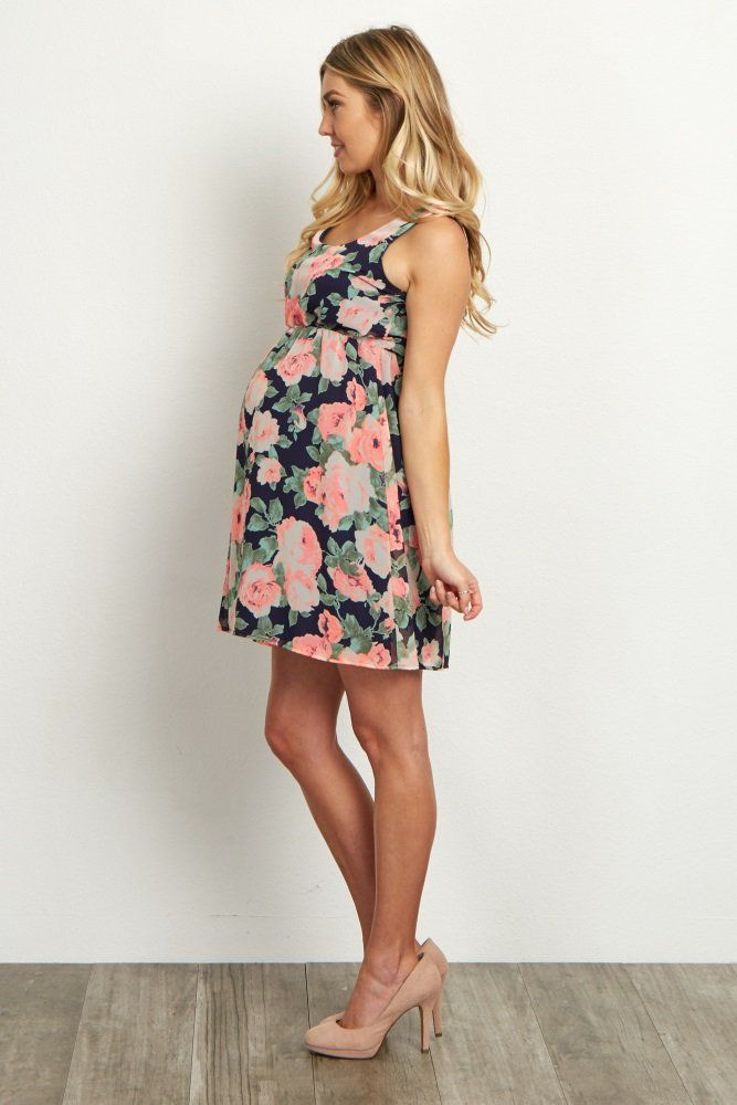 700f1a7d76769 Navy Neon Floral Chiffon Maternity Dress in 2019 | Women's fashion ...
