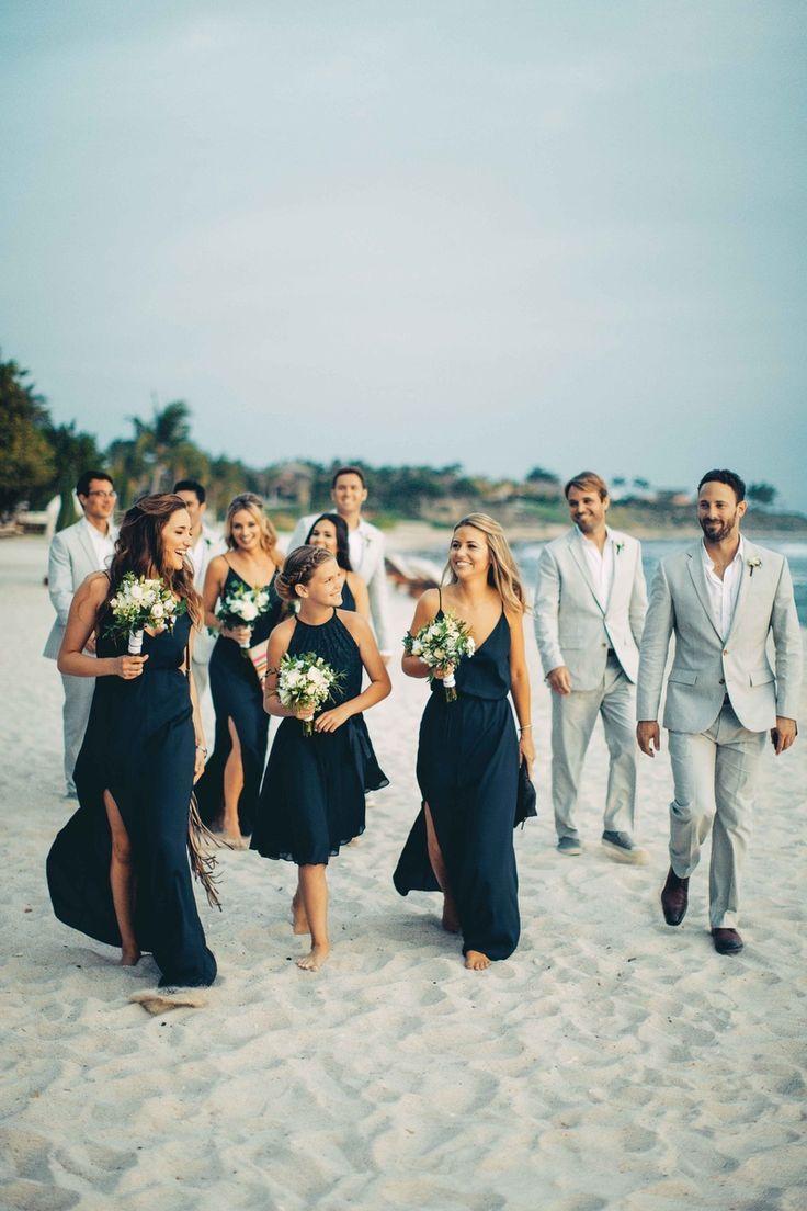 Bridesmaids In Blue Groomsmen In Grey Wedding Bridesmaids