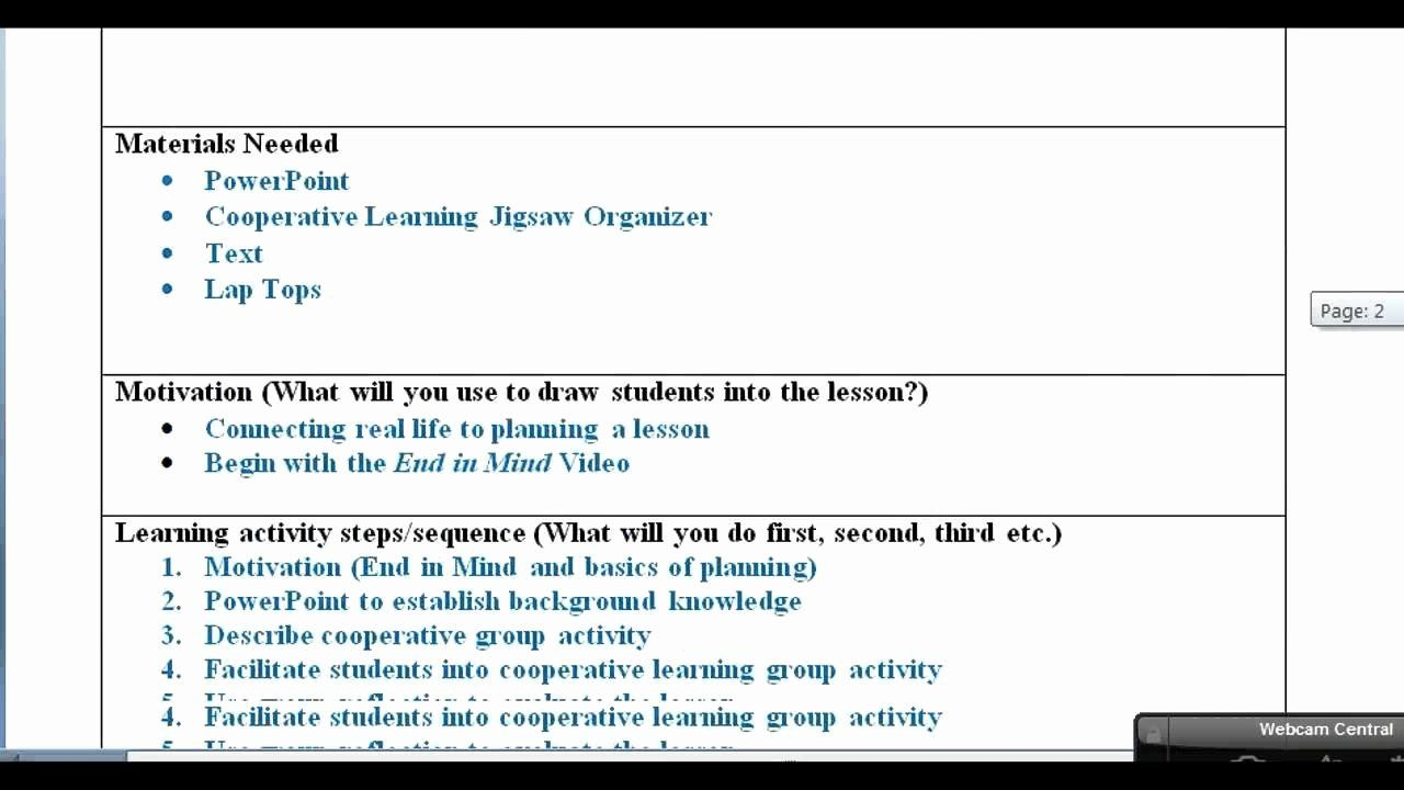 cooperative learning lesson plan template best of lesson