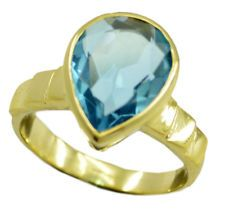 fascinating Blue topaz CZ Gold Plated Blue Ring india US 6789