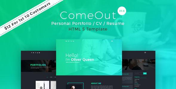 ComeOut - Responsive Html Portfolio CV/Resume Template   Cv resume ...