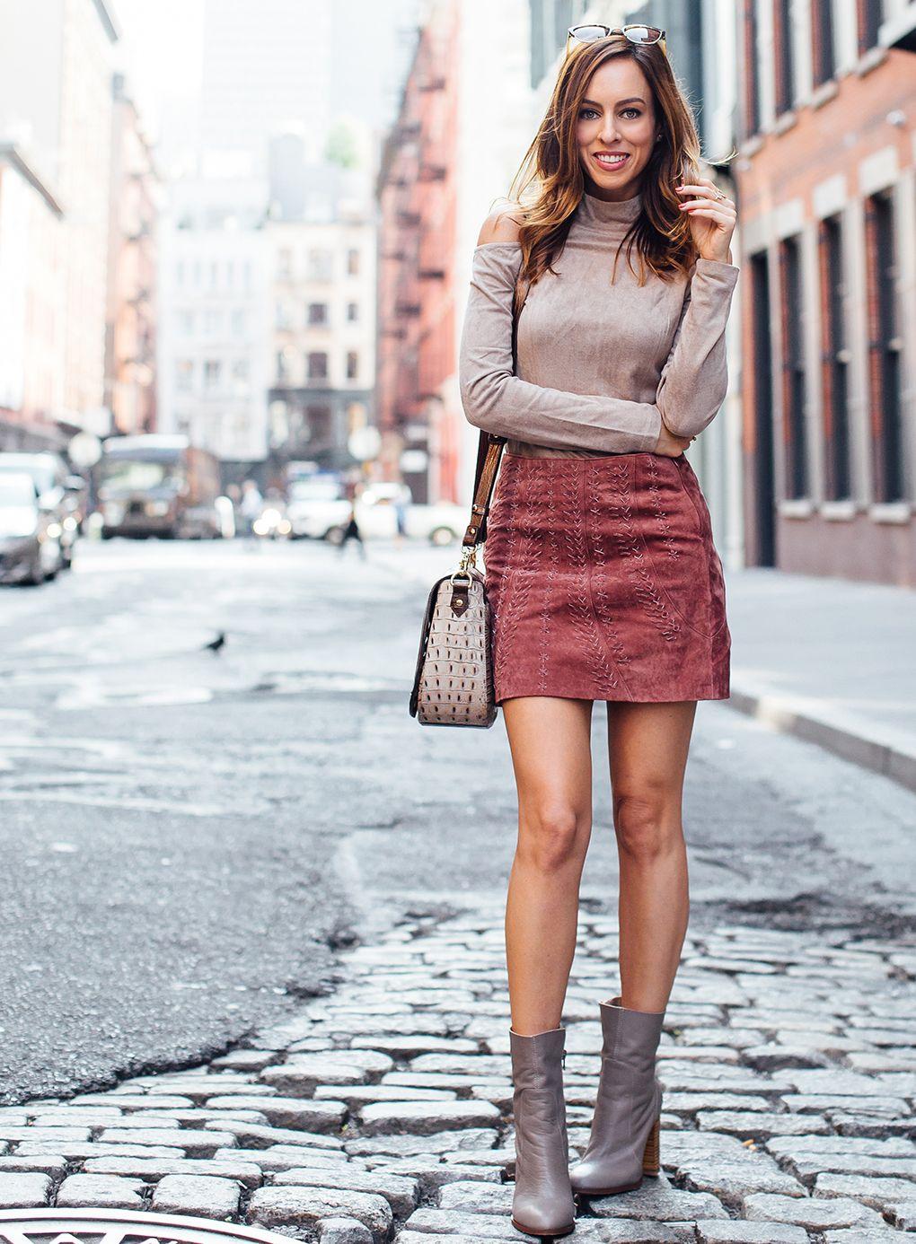 9e360f767 Los Angeles fashion blogger Sydne Summer street styles a swede mini skirt  for the fall season.
