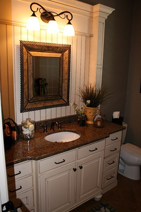 Bathroom vanity - centre sink counter bumps out with recesses ...