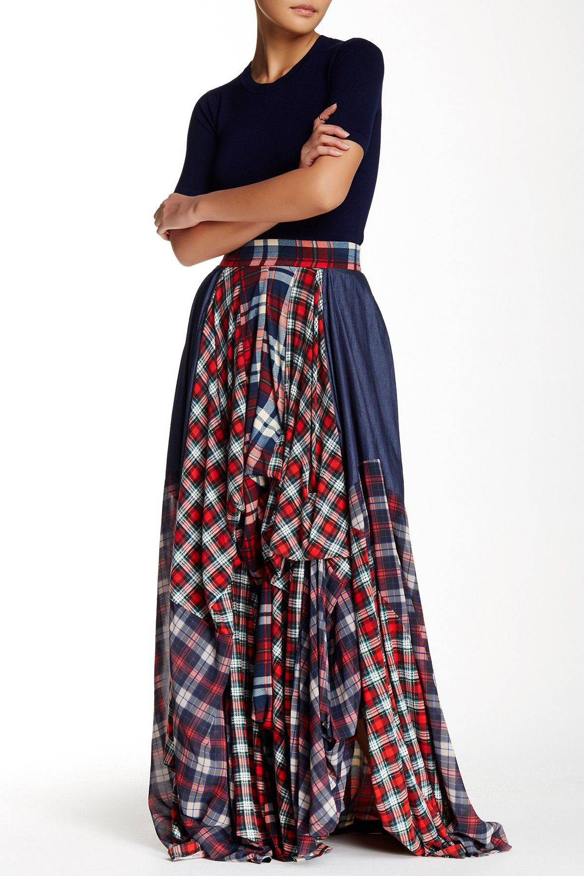 Womens Dresses Gown Casual Plaid Print Long Sleeve Holiday Empire Waist Full Length Maxi Skirt with Pockets
