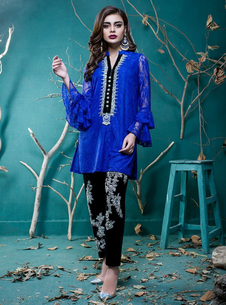 Beautiful blue 3 piece Pret Wear by Zainab Chottani Party Wear ...