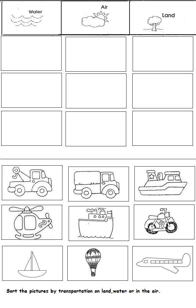 transportation unit worksheet for kindergarten | Crafts and Worksheets for Presc... transportation