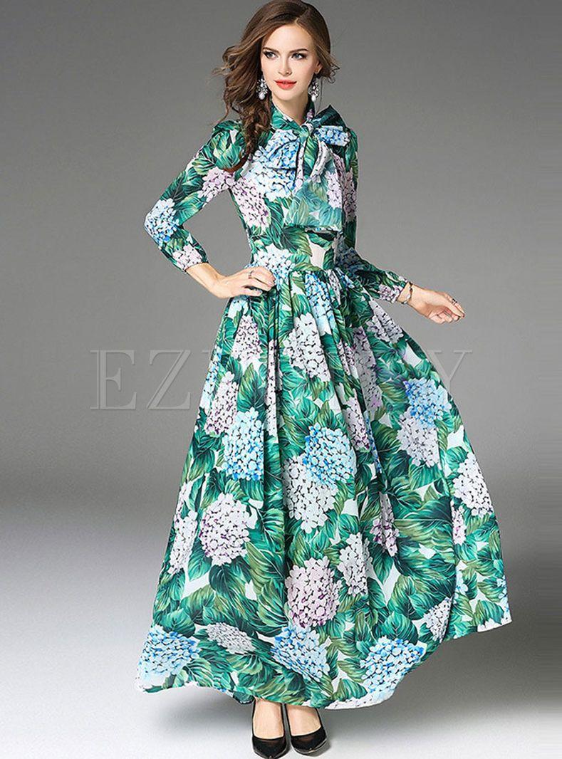df42dc0eba Green Floral Print Long Sleeve Maxi Dress | Ezpopsy.com | My Style ...