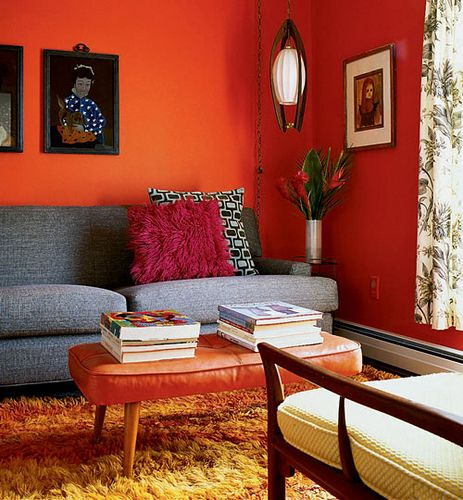 Mid Century Living Room With Orange Walls Living Room Decor