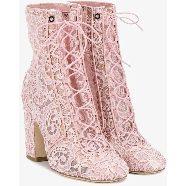 Laurence Dacade Milly lace boots (1.785 BRL) ❤ liked on Polyvore featuring shoes, boots, ankle booties, pink, lace-up booties, lace up block heel boots, almond toe booties, lace front boots and block heel booties