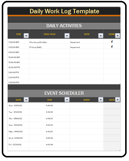 Daily Work Log Templates  Business Formats    Template