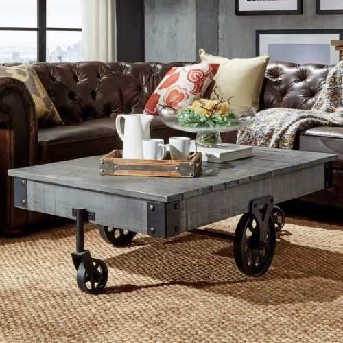 Weston Home Metal Supports Cocktail Table with Functional Wheels, Grey