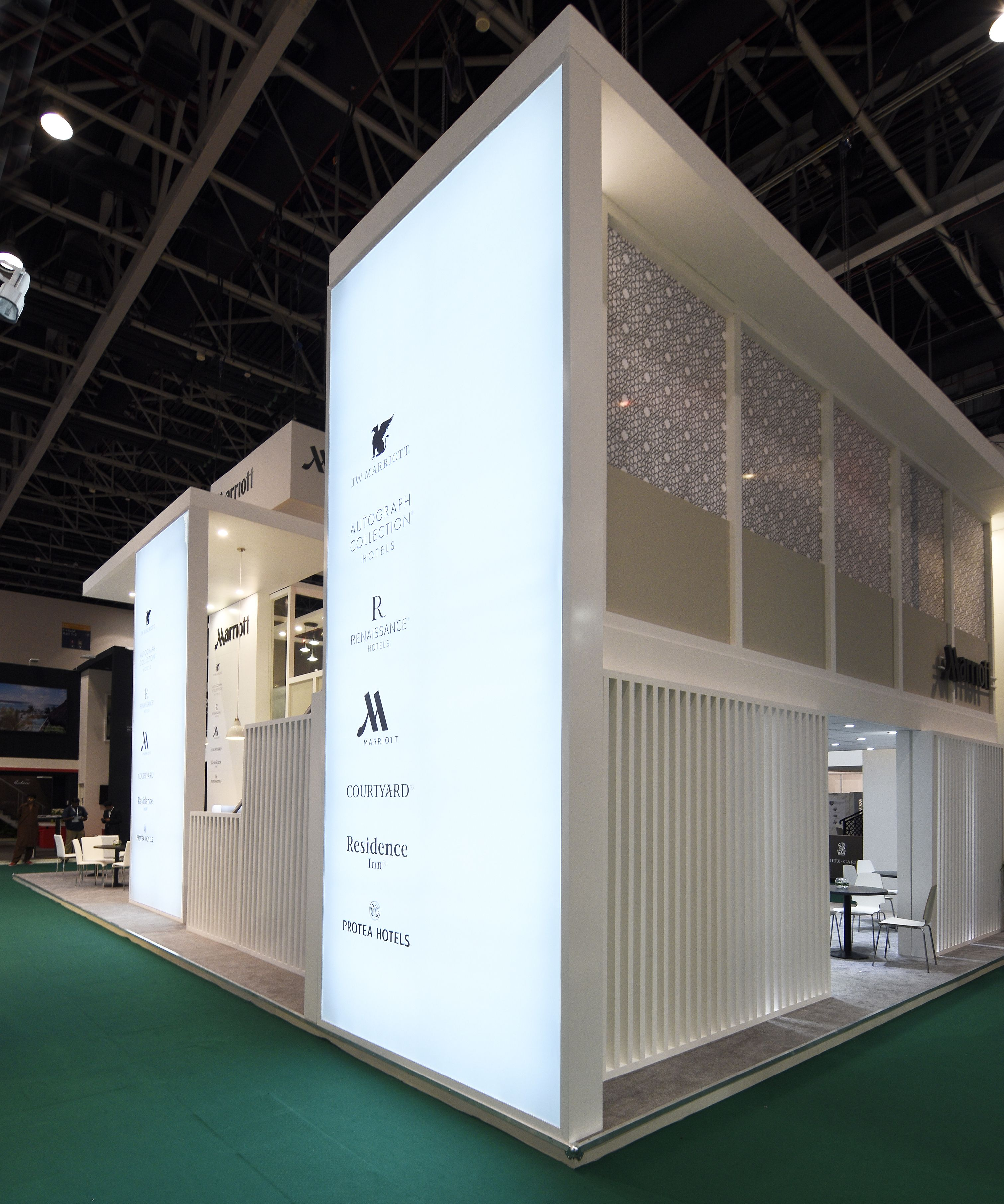 Exhibition Stand Designs Uk : Marriott exhibition stand design by elevations uk for atm dubai 2016
