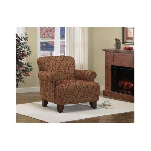 Living Room Accent Arm Chair Textured Fabric Brown with Cranberry