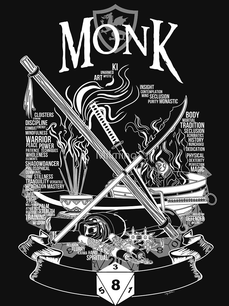'RPG Class Series: Monk - White Version' Essential T-Shirt by Milmino