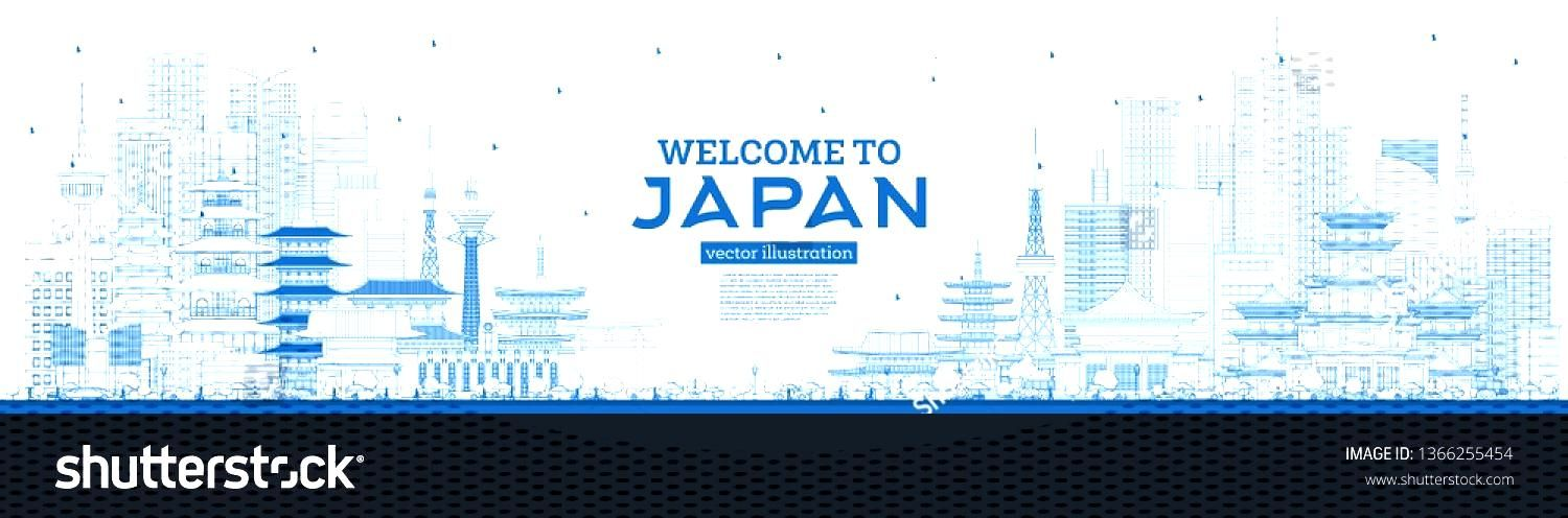 Outline Welcome to Japan Skyline with Blue Buildings. Vector Illustration. Tourism Concept with His
