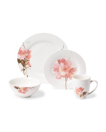 16pc Amore Floral Dinnerware Set Dining Entertaining T J