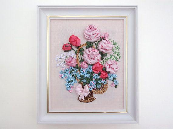 Flower Shelf ribbon embroidery DIY kit wall room decor