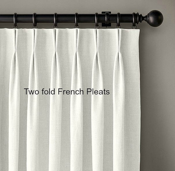 Solid Color Linen Drapes Pleated Curtain Panels White Etsy