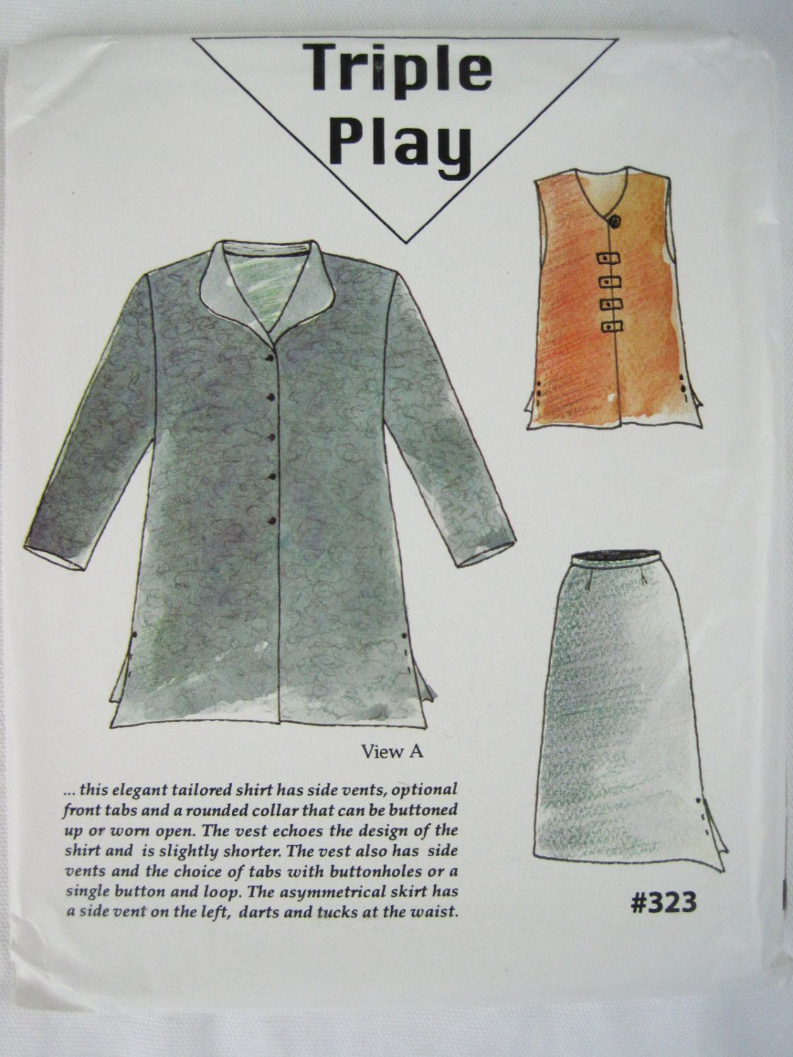Triple Play Tailored Shirt Vest And Asymmetrical Skirt Sewing