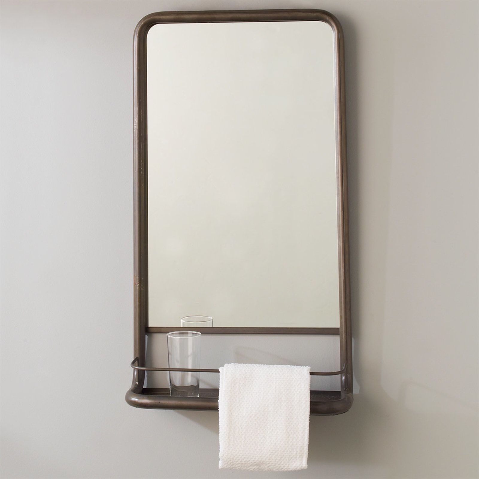 Metal Mirror With Shelf Small Industrial Mirrors Metal Mirror Contemporary Bathroom Remodel