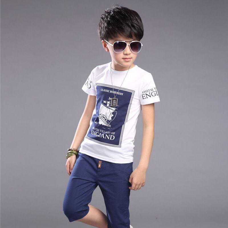 28f8bd746 Kids Boys Summer T-shirt Sets Children's short sleeves T-shirts + Pants 6