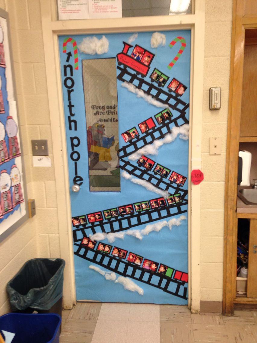 School class room door Christmas decoration with kids and