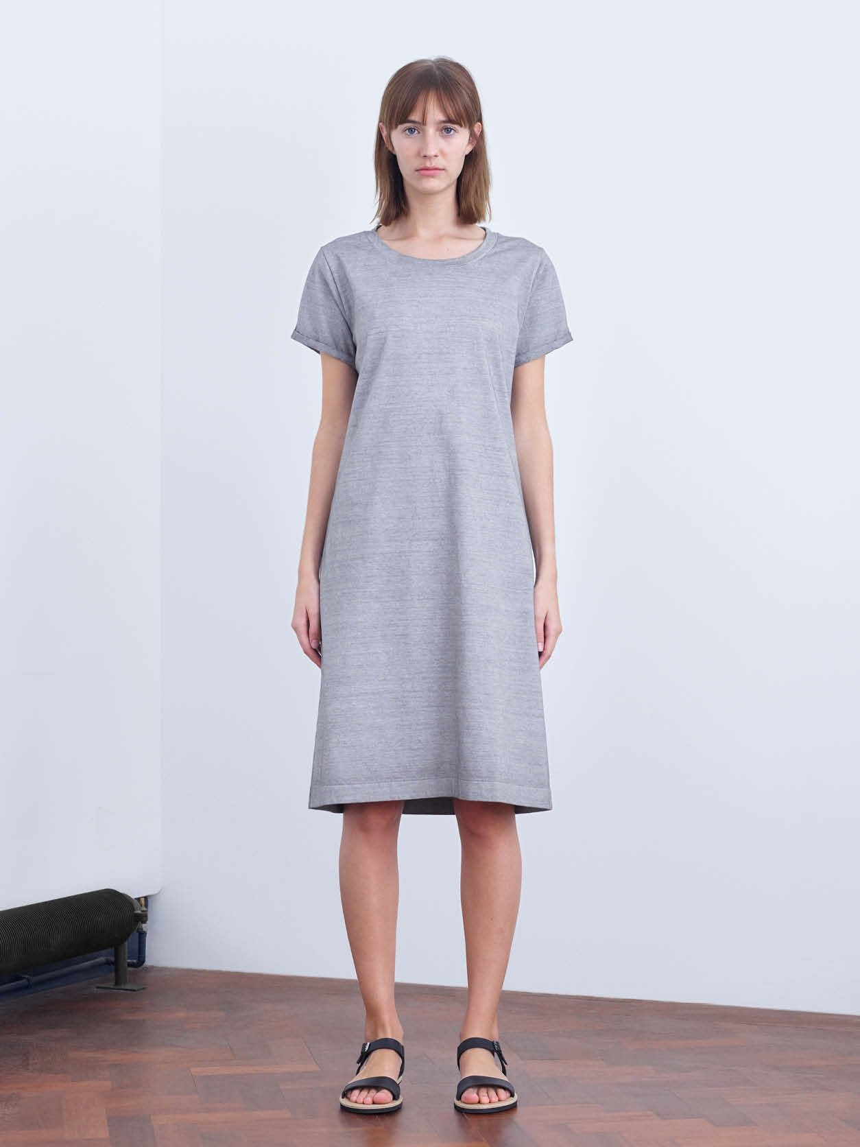 Womens Mhl Relaxed Fit Knee Length Garment Dyed T Shirt Dress With