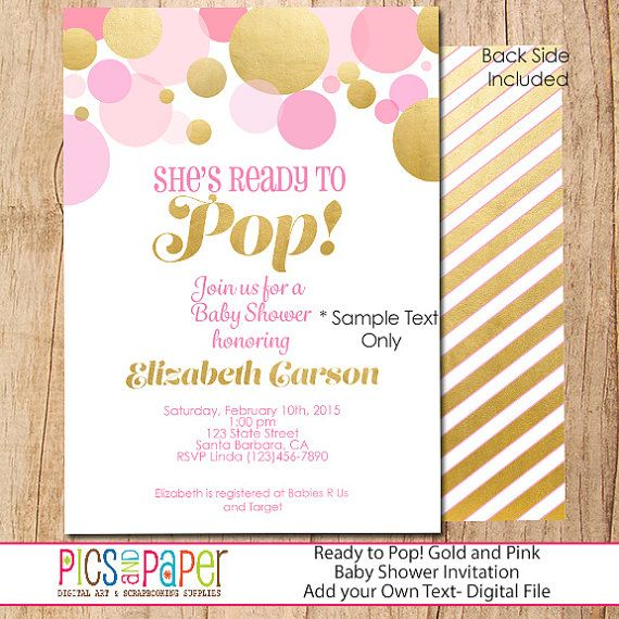 Shes ready to pop pink and gold bubbles baby shower invitation for shes ready to pop pink and gold bubbles baby shower invitation for girl personalized digital or printed filmwisefo Images